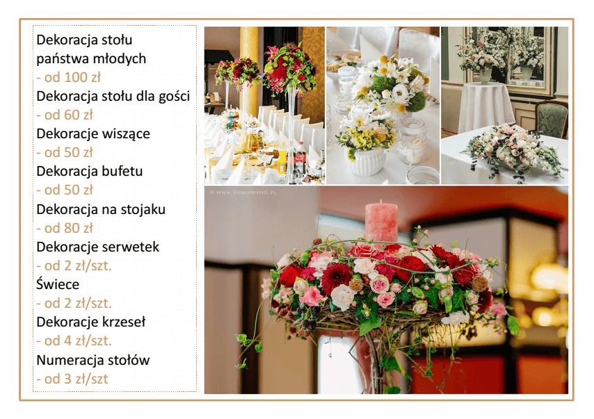 cennik cena dekoracji sali na wesele kompozycje kwiatowe na stół Agnieszka Błaszczyk abkwiaty Kraków