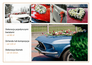 cennik cena dekoracji samochodu na ślub kompozycje kwiatowe girlandy pojedyncze główki kwiatów Agnieszka Błaszczyk abkwiaty Kraków