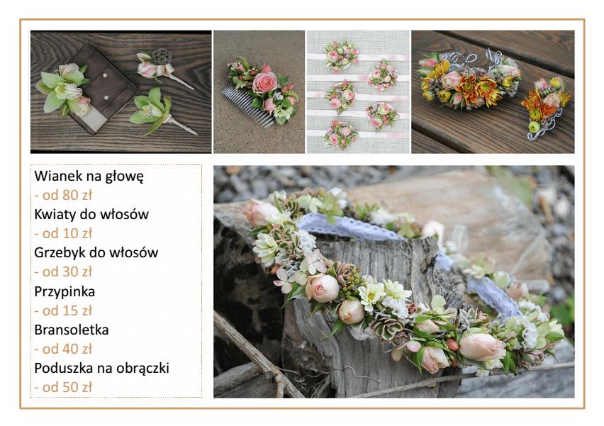 cennik cena wianków ozdób do włosów na ślub bransoletek poduszek kwiatowych Agnieszka Błaszczyk abkwiaty Kraków