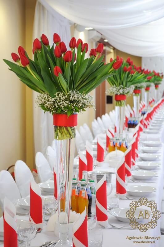 Czerwone Tulipany W Hotelu Dobczyce Dekoracje ślubne Kraków Abkwiaty