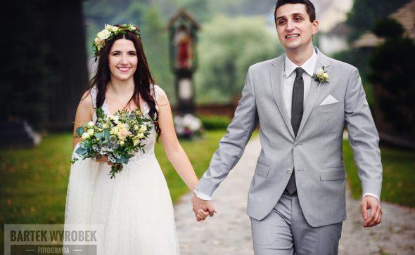 Bukiet ślubny i wianek Kraków z liśćmi różą serurią dalią biało-kremowo-szary Agnieszka Błaszczyk abkwiaty