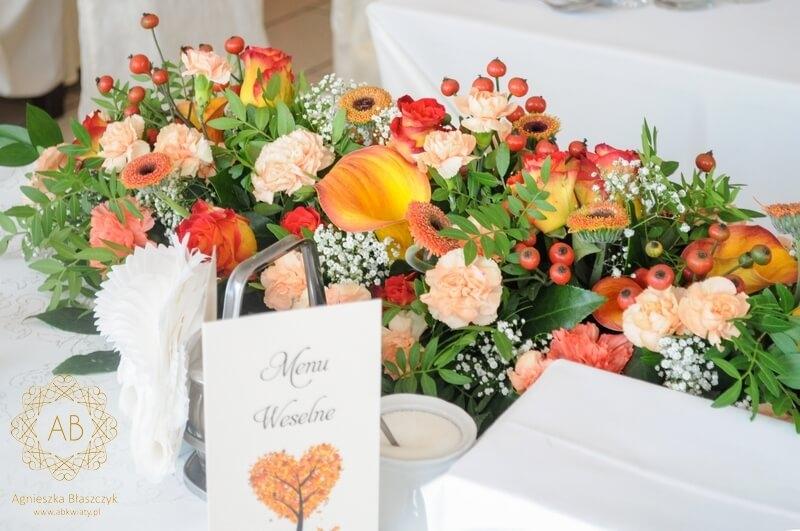 Dekoracja sali weselnej Hotel Koral Wieliczka pomarańczowe kompozycje kwiatowe owoce róży gipsówka róża goździk Agnieszka Błaszczyk abkwiaty Kraków