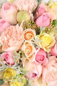 Bukiet ślubny Kraków pastelowe kwiaty brzoskwiniowe łososiowe kremowe róże goździki szare liście Agnieszka Błaszczyk abkwiaty