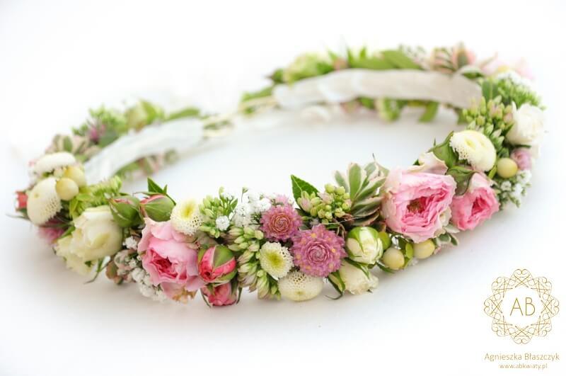 3cd62d6183 Pastelowy wianek na ślub dla Panny Młodej różowo-biały drobne kwiaty  różyczki Agnieszka Błaszczyk abkwiaty